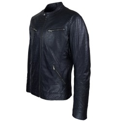 blouson homme cuir style motard baya black vue de profil
