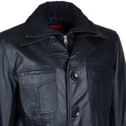 veste homme cuir cookes quatre boutons col amovible vue de gros plan