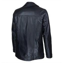 veste homme cuir cookes quatre boutons vue de trois tiers
