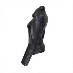 veste femme cuir a zip paro vue de cote