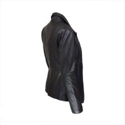 veste femme cuir a zip paro vue de cote inverse