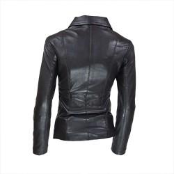 veste femme cuir a zip paro vue de deux tiers