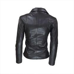 veste femme cuir a zip paro vue de dos