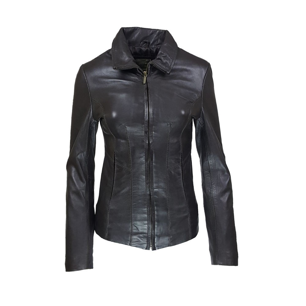 veste femme cuir a zip paro vue de face
