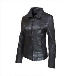 veste femme cuir a zip paro vue de profil