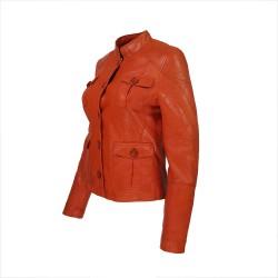 veste femme cuir quatre boutons bardo image de tiers inverse