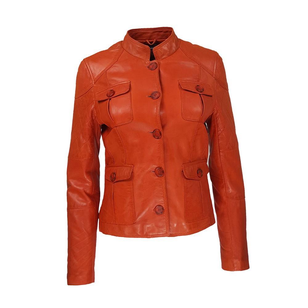 veste femme cuir quatre boutons bardo vue de face
