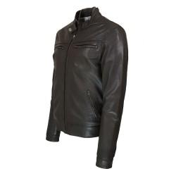 blouson homme en cuir  style motard alabama vue de profil