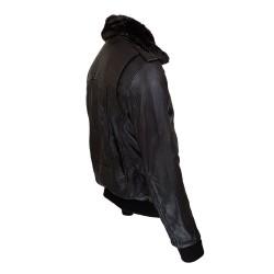 blouson homme cuir modele aviateur fly jacket toledo a col amovible vue de cote