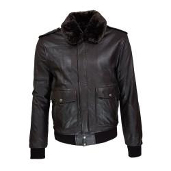 blouson homme cuir modele aviateur fly jacket toledo a col amovible vue de face
