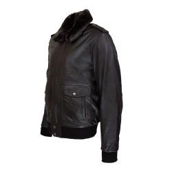 blouson homme cuir modele aviateur fly jacket toledo a col amovible vue de profil