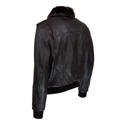 blouson homme cuir modele aviateur fly jacket toledo a col amovible vue de trois tiers