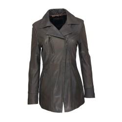 veste femme cuir a zip barra vue de face