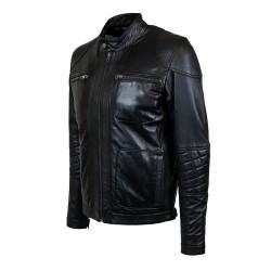 blouson homme cuir style motard canberra vue de profil