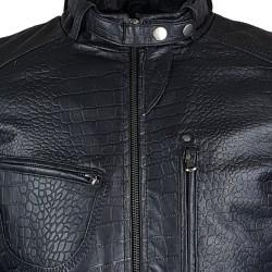 blouson homme cuir style motard tendi vue de gros plan
