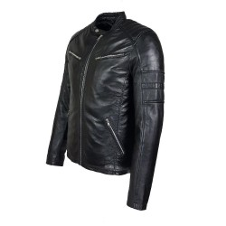blouson homme cuir style motard gola black vue de profil