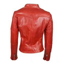 blouson en cuir de buffle col rond rouge brillant vue de dos