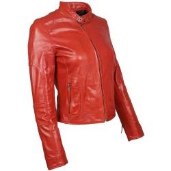 blouson en cuir de buffle col rond rouge brillant vue de profil