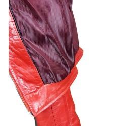 blouson en cuir de buffle col rond rouge brillant vue interieur