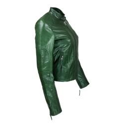 blouson femme en cuir de buffle monzo  col rond green vue de cote