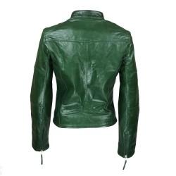 blouson femme en cuir de buffle monzo  col rond green vue de dos