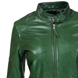 blouson femme en cuir de buffle monzo  col rond green vue de gros plan