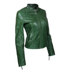 blouson femme en cuir de buffle monzo  col rond green vue de profil