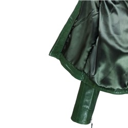 blouson femme en cuir de buffle monzo  col rond green vue interieur