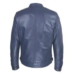 blouson cuir homme motard bleu vue de dos