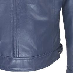 blouson cuir homme motard bleu vue de plan dos