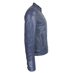 blouson cuir homme motard bleu vue de profil