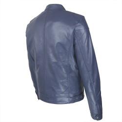 blouson cuir homme motard bleu vue trois tiers