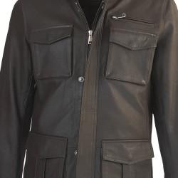 veste cuir homme de combat marron vue de plan