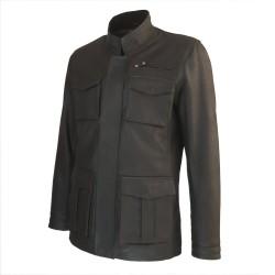 veste cuir homme de combat marron vue de tiers