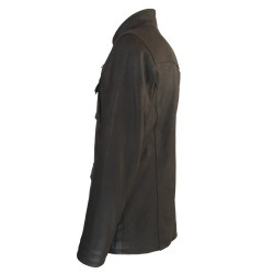 veste cuir homme de combat marron vue deux tiers