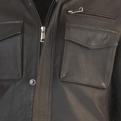 veste cuir homme de combat marron vue gros plan