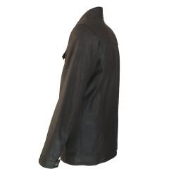veste cuir homme de combat marron vue trois tiers