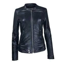 blouson cuir femme jason style motard noir vue de face