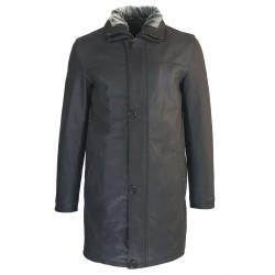veste cuir homme trois quart quatre boutons col amovible noir capitaine de face