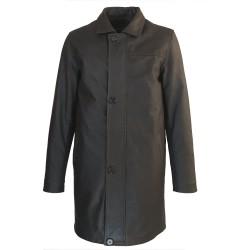 veste cuir homme trois quart quatre boutons marron vaisseau vue de face