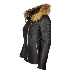 veste femme boston brown vue de profil avec capuche