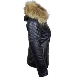 veste femme   boston black vue de profil avec capuche