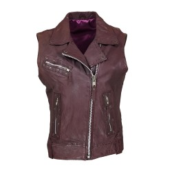 purple woman leather vest...