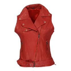 gilet cuir femme rouge Imalaya