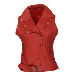 Imalaya red woman leather vest