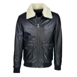 blouson-en-cuir -homme-fly-jacket -aviateur-noir-face