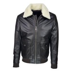 blouson-en-cuir -homme-fly-jacket -aviateur-brown-marron-face