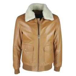 blouson-en-cuir -homme-fly-jacket -aviateur-noir-face-col-fourrure