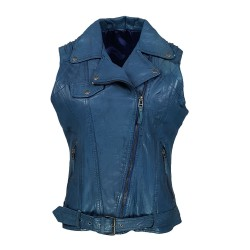 blue woman leather vest
