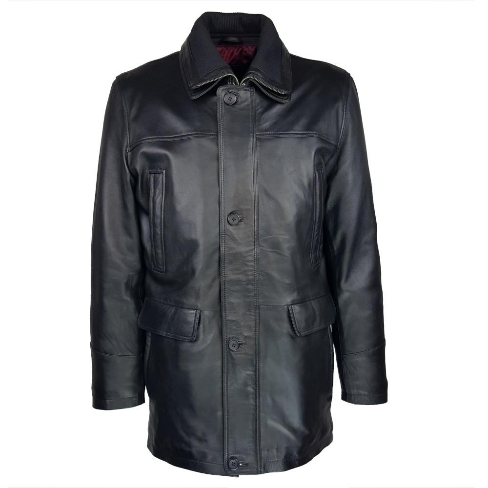 trois-quart-manteau-cuir-homme-agneau-noir-borsalino-face